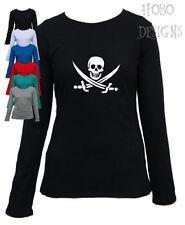Polyester Long Sleeve Skull T-Shirts for Women