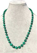 """Green Malachite Bead Yellow Gold tone Clasp Graduated Vintage Necklace 24"""" Long"""