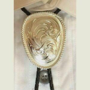 Men's Silver Etched Bolo
