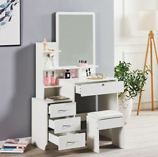 Wooden Dressing Table Stool Bedroom Vanity Set Makeup Desk W/ Mirror & 4 Drawers