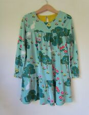 MINI BODEN Girls Blue Green Floral Rabbit Woodland Dress age 4-5