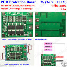 3S 11.1V Li-ion Lithium Cell 25A 18650 Battery Protection BMS PCB Board Balance