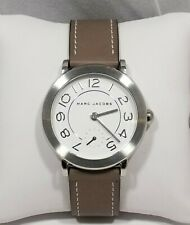 Marc Jacobs Riley White Dial Silver Tone Grey Leather Women's Watch MJ1468
