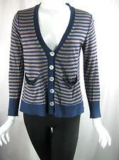 CHAN LUU Blue Taupe Striped Long Sleeve Cardigan Sweater Size Small