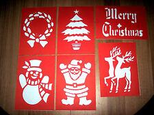 Christmas Stencils x 6 A4  santa snowman etc on card BN