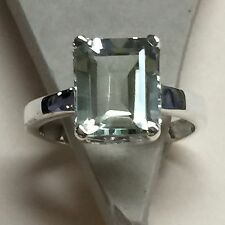 Natural Emerald Cut 4ct Green Amethyst 925 Solid Sterling Silver Ring sz 6.75