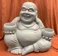 Next Grey Resin Laughing Buddha Candle Holder Tea Light Happy Budai Sculpture