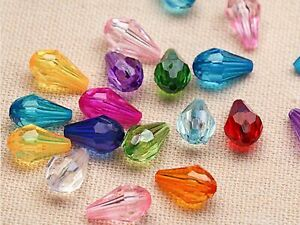100 Mixed Colour Transparent Acrylic Faceted Teardrop Beads 8X13mm Jewelry Make
