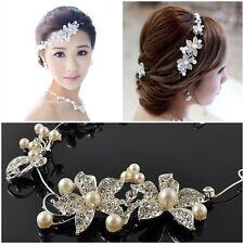 Dazzling Clear Rhinestone Faux Pearl Flower Party Bridal Headband Tiara Headwear