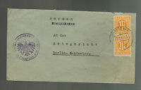 1945 Frankfurt Germany Censored Cover to Berlin AMG Stamps