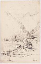 Brienz. Oberland Bernois. Suisse. Dessin original à l'encre. 1906