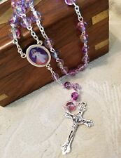 "18"" Glass Bead Divine Mercy / Sacred Heart Rosary"