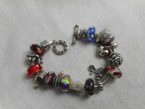 "Chamilia 925 7.5"" chain bracelet & 19 charms-9 ALE - 5 Chamilia - 5 others"