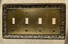 paisley 4 gang quadruple light switch plate cover brass