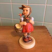 Vtg Goebel Lil Shopper girl figurine West Germany very colorful braids basket