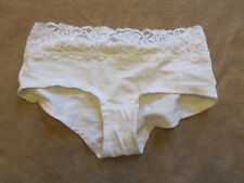 M&S White Stretch Cotton Lace Trim Knickers in Size 6 - NWOT