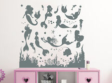 Mermaid Wall Decal Nymph Girl Tail Sea Animal Bathroom Girls Nursery Decor NV175
