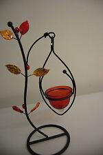Teelichthalter aus Metall Blatt Kerzen Dekoration Garten Glas Perlen Höhe 28 cm