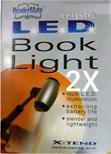 2x Mighty Bright LED Book Light *triple LED Telescoping Arm 2 Lamps