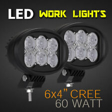 "LED Work Lamps - PAIR - 6"" 60W CREE - Professional Grade 12v/24v - Spot or Flood"