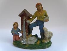 PRESEPE PRESEPIO papà bambino alla fonte vecchia statuina cartapesta diorama