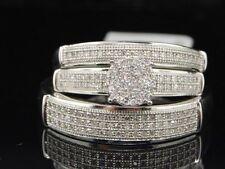 Mens Ladies 10K White Gold Diamond Engagement Ring Wedding Band Set 0.40 Ct.