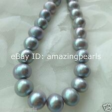 11-12mm Silver Round Freshwater Pearls Loose Beads AAA- Grade 0.7mm Hole Size