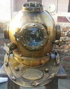 Vintage 18 Inch Diving Helmet Us Navy Mark V Original Antique Divers Helmet