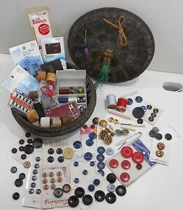 Vintage Oriental  Mending Sewing Basket Full Of Fun Old Notions & Supplies