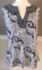Cynthia Rowley Medium Sleeveless Black & White Paisley Top