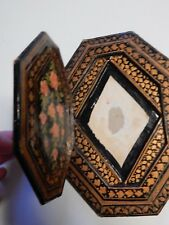 unusual  PERSIAN ? PAINTED WOOD VINTAGE ETHNOGRAPHIC FRAME EMPTY