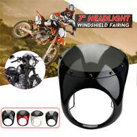"Motorcycle Black 7"" Headlight Fairing Screen Retro Cafe Racer Style Drag Racing"