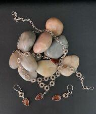Tiger Eye Necklace, Earrings Sterling Wire-Wrapped Bead Brown/Black Jasper
