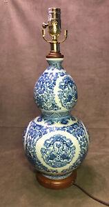 Ralph Lauren Zen Koi Fish Porcelain Ginger Jar Round Blue & White Table Lamp