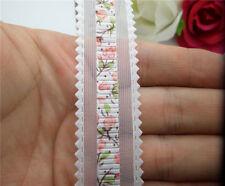 "NEW wholesale 3/10/25 Yard 1 ""25mm organza Printed flower ribbon Colors choose"