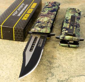 TAC FORCE Camo Spring Assisted Bowie Sawback Blade Folding Pocket KNIFE TF-710JC