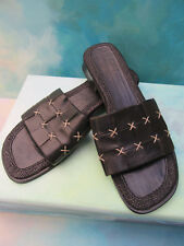 Tommy Bahama Black Woven Leather & Straw Sandals Slides Flats Wms 7.5