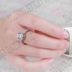 Fine Jewelry 8mm Round White Topaz Vintage Gemstone Ring 18k White Gold Setting