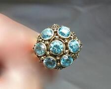 Blue Zircon Ring Art Deco 14K Gold Hollywood Regency 2.8CT Cocktail Flower