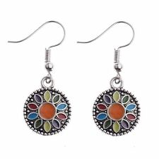 Women's Vintage Bohemian Boho Style Colorful Round Dangle Hook Alloy Earrings