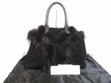 Auth Saint Laurent Paris YSL Suede Fourrure Black Hand Bag Boston Bag #5649
