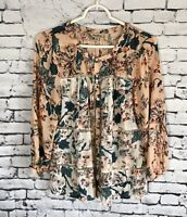 Lucky Brand Peach Floral Button Down Ditsy Boho Blouse Women's Size Small