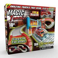 Ontel Magic Tracks Fire Rescue Glow in The Dark Racetrack Set with 10' of track