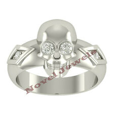 Sterling Silver White Eye SKULL Ring Size ALL Mens Jewelry Harley Biker Heavy