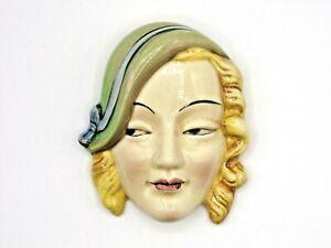 Very Rare 1930s Art Deco Beswick Ware Porcelain Girl's Face Wall Plaque (AP157G)