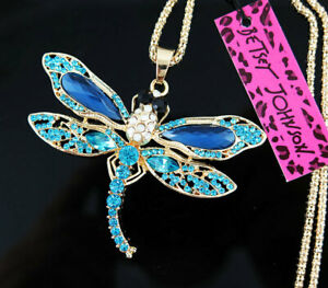 Hot Betsey Johnson Blue Crystal Cute Dragonfly Pendant Necklace Sweater Chain