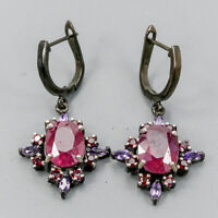 Ruby Earrings Silver 925 Sterling Fine Art  /E38055