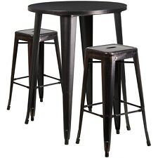 Round Black-Antique Gold Metal Bar Table Set W/2 Square Seat Backless Barstools