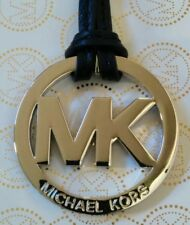 "New Michael Kors Large 2"" MK Logo Silver Charm / Black Leather Strap Tag Fob"