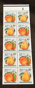 1995 Peach Pear 10- 32¢ perforated stamp booklet pane Scott 2487-88